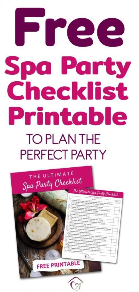 FREE Spa Party Checklist Printable
