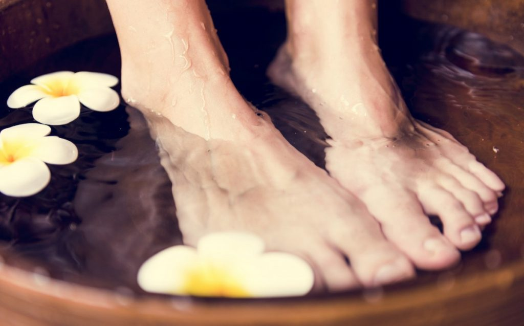 15 Mind Blowing Home Spa Ideas For Complete Pampering; Closeup of a foot spa