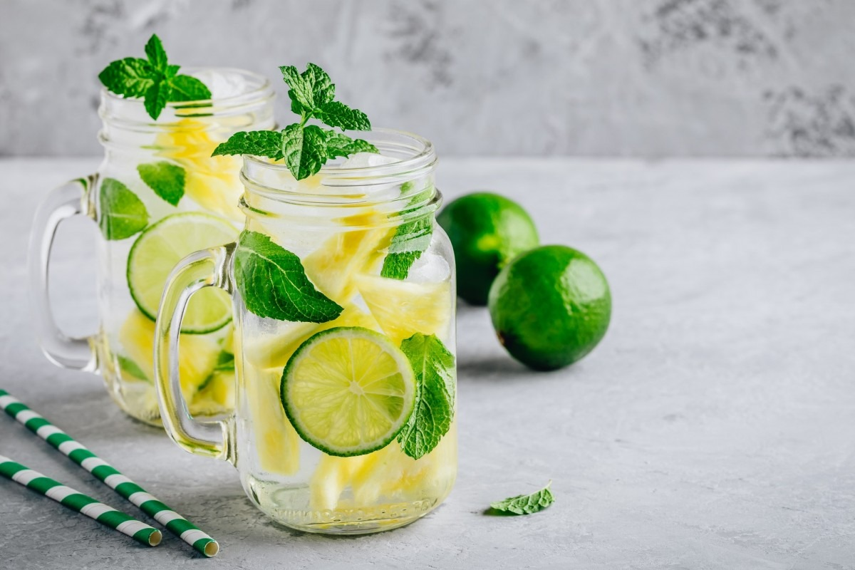 21 Invigorating Spa Water Recipes For Instant Energy; Infused detox water with pineapple, lime and mint. Ice cold summer cocktail or lemonade